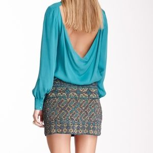 Haute Hippie STUNNING Aztec Beaded Skirt M